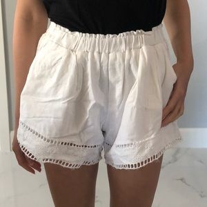 White Flowy Lace Shorts with Pockets